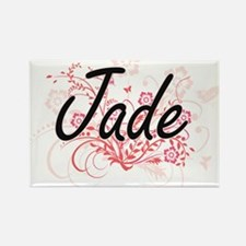 Jade Artistic Name Design with Flowers Magnets