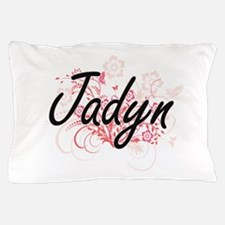 Jadyn Artistic Name Design with Flower Pillow Case