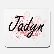 Jadyn Artistic Name Design with Flowers Mousepad