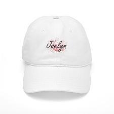 Jaelyn Artistic Name Design with Flowers Baseball Cap