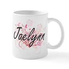 Jaelynn Artistic Name Design with Flowers Mugs