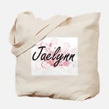 Jaelynn Artistic Name Design with Flowers Tote Bag
