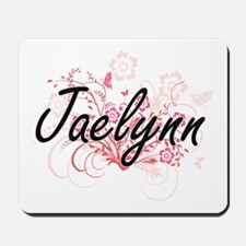 Jaelynn Artistic Name Design with Flower Mousepad