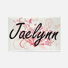 Jaelynn Artistic Name Design with Flowers Magnets
