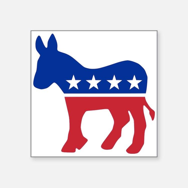 "Cute Democrat donkey Square Sticker 3"" x 3"""