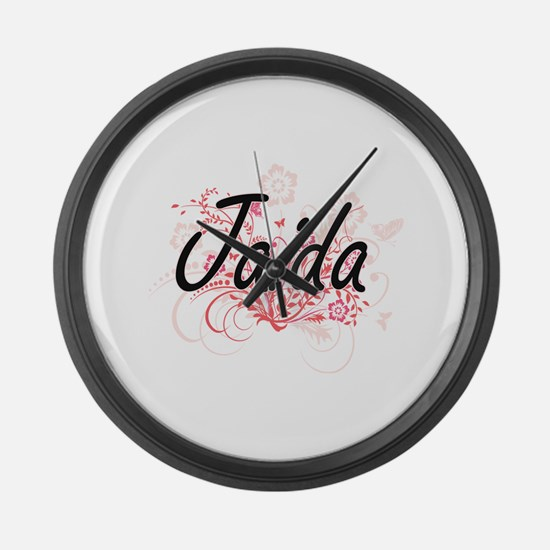 Jaida Artistic Name Design with F Large Wall Clock