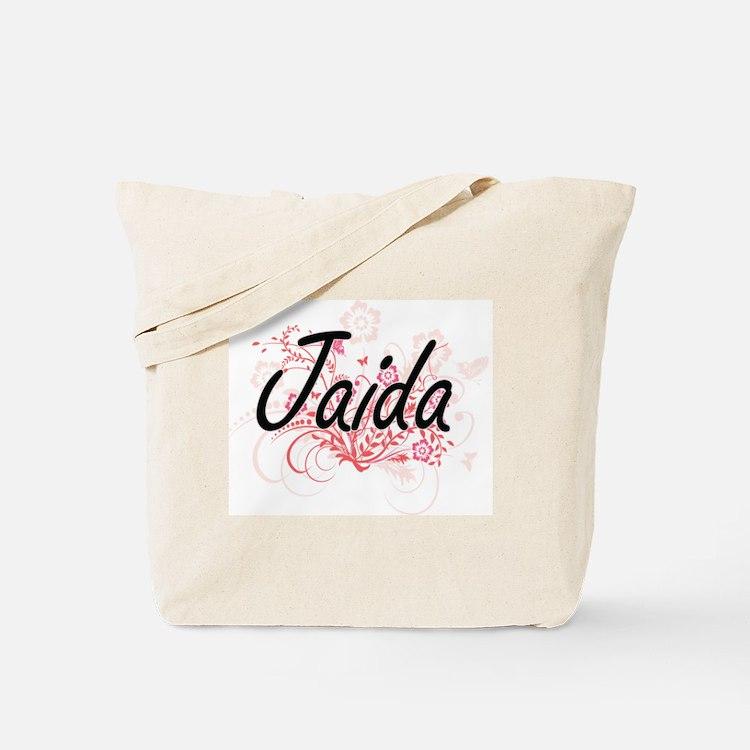 Jaida Artistic Name Design with Flowers Tote Bag