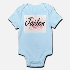 Jaiden Artistic Name Design with Flowers Body Suit