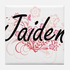 Jaiden Artistic Name Design with Flow Tile Coaster