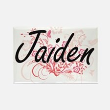 Jaiden Artistic Name Design with Flowers Magnets