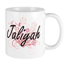 Jaliyah Artistic Name Design with Flowers Mugs