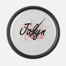 Jalyn Artistic Name Design with F Large Wall Clock
