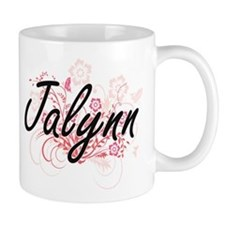 Jalynn Artistic Name Design with Flowers Mugs