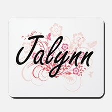Jalynn Artistic Name Design with Flowers Mousepad