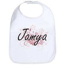 Jamya Artistic Name Design with Flowers Bib