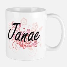 Janae Artistic Name Design with Flowers Mugs