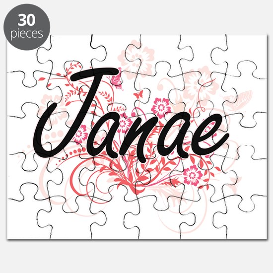 Janae Artistic Name Design with Flowers Puzzle