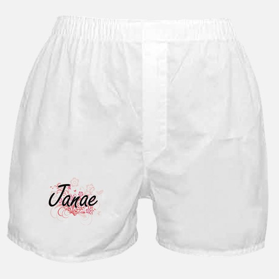Janae Artistic Name Design with Flowe Boxer Shorts