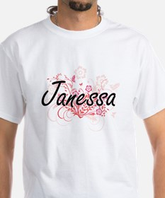 Janessa Artistic Name Design with Flowers T-Shirt
