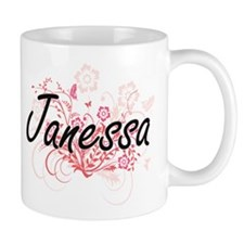 Janessa Artistic Name Design with Flowers Mugs