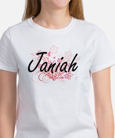Janiah Artistic Name Design with Flowers T-Shirt