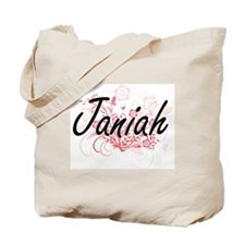 Janiah Artistic Name Design with Flowers Tote Bag