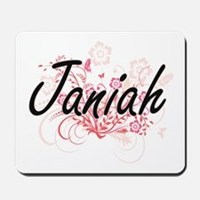 Janiah Artistic Name Design with Flowers Mousepad
