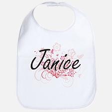 Janice Artistic Name Design with Flowers Bib