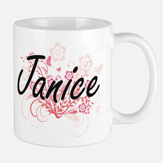 Janice Artistic Name Design with Flowers Mugs