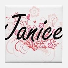 Janice Artistic Name Design with Flow Tile Coaster