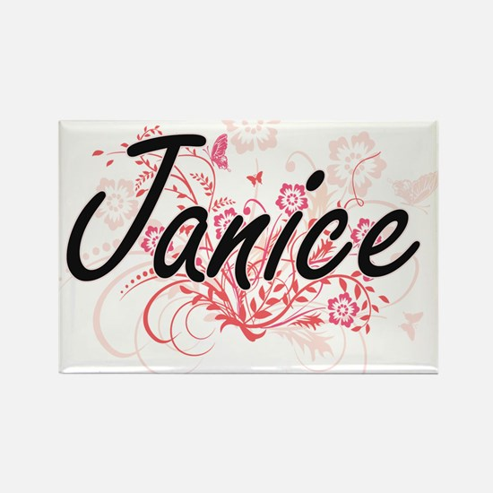 Janice Artistic Name Design with Flowers Magnets