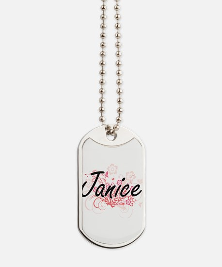 Janice Artistic Name Design with Flowers Dog Tags