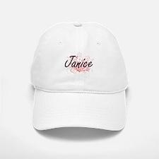Janice Artistic Name Design with Flowers Baseball Baseball Cap