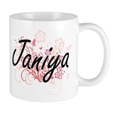 Janiya Artistic Name Design with Flowers Mugs