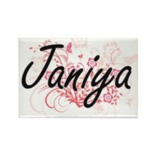 Janiya Artistic Name Design with Flowers Magnets
