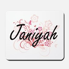 Janiyah Artistic Name Design with Flower Mousepad