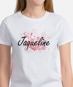 Jaqueline Artistic Name Design with Flower T-Shirt