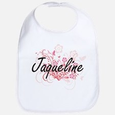 Jaqueline Artistic Name Design with Flowers Bib