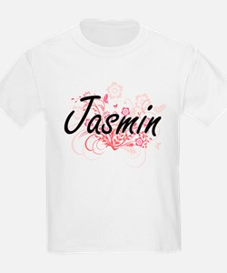 Jasmin Artistic Name Design with Flowers T-Shirt