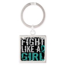 Cute Fight like a girl tops Square Keychain