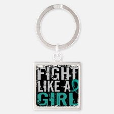 Cute Fight like a girl Square Keychain