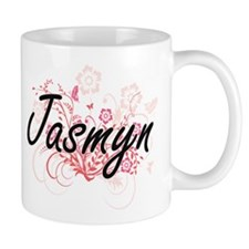 Jasmyn Artistic Name Design with Flowers Mugs