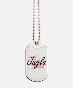 Jayla Artistic Name Design with Flowers Dog Tags