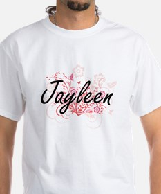 Jayleen Artistic Name Design with Flowers T-Shirt