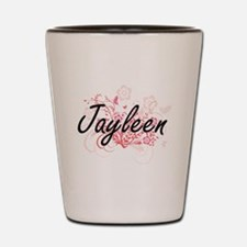 Jayleen Artistic Name Design with Flowe Shot Glass