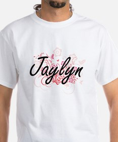 Jaylyn Artistic Name Design with Flowers T-Shirt