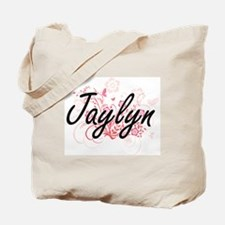 Jaylyn Artistic Name Design with Flowers Tote Bag