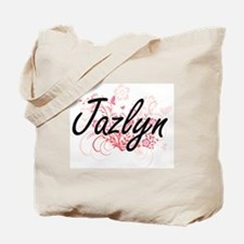Jazlyn Artistic Name Design with Flowers Tote Bag
