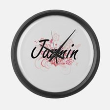 Jazmin Artistic Name Design with Large Wall Clock
