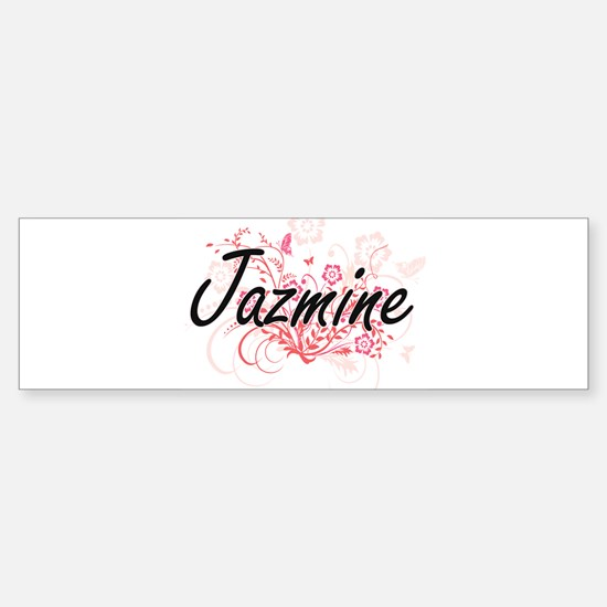 Jazmine Artistic Name Design with F Bumper Bumper Bumper Sticker